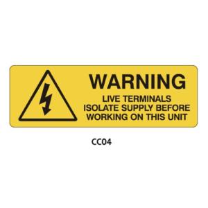Warning Labels - Live Terminals - CC04
