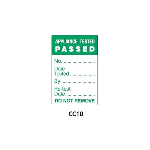 PAT Testing Labels - Pass - CC10