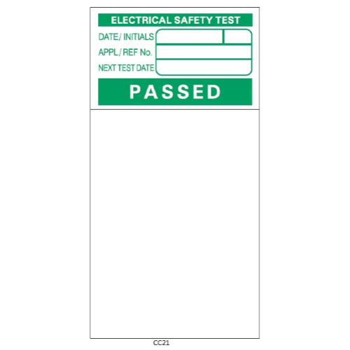 PAT Testing Pass Labels - Laminated Vinyl - CC21