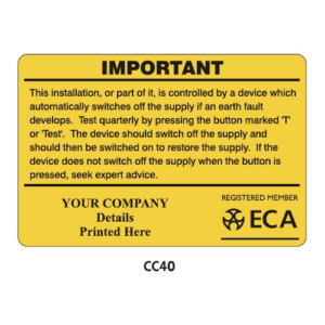 Electrical Installation Labels - CC40