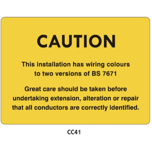 Electrical Installation Labels - CC41